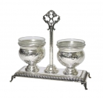 Double Salt Cellar - Chased & Hammered
